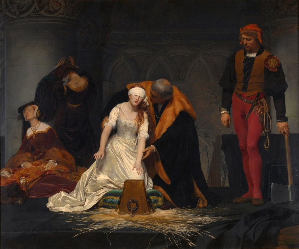 The execution of Lady Jane Grey by Paul Delaroche National Gallery London Fair use applies educational / critique use only. Source: Wikimedia Commons