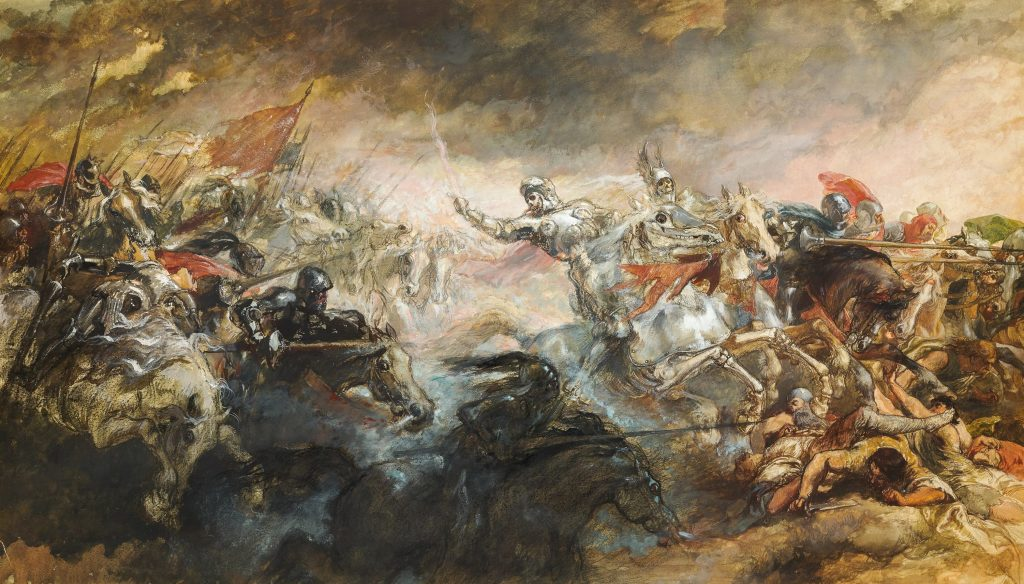 a battle scene, painting art history relevant to film scene